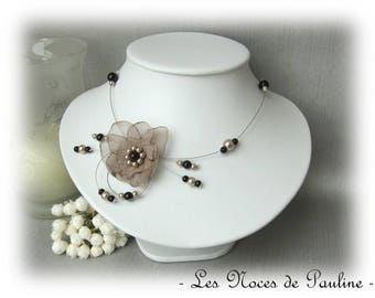 Beige and black Orchid Candice bridal necklace
