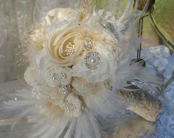 FULL PRICE Gatsby Brooch Bouquet Ivory Champagne White Cream