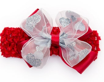 RED & SILVER HEARTS Sparkle Double Bow Headband (6 months to 8 years)