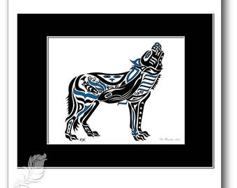 """Haida Style Wolf Art Print - """"The Melody"""" -  Pacific Northwest Coast Style Wolf Art Print - 8x10, BLUE"""