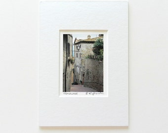 Tiny Art Print, Italian Steps Travel Photography, Stone Walls Photo,Italian Architecture,Neutral Decor,Italy Art,5x7 Matted Stocking Stuffer