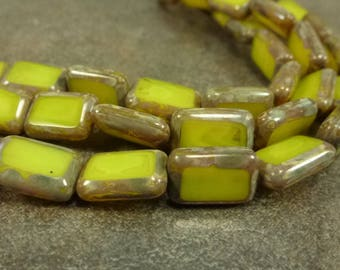 Milky Yellow Picasso Table Cut Czech Glass Rectangle Beads 12x8mm 12pc