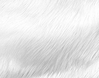 White Pile Luxury Shag Faux Fur Fabric by the yard for costumes, coats, vests, home and studio use