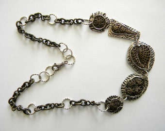 Artist Jane Levy Filigree Etched Antique Bronze and PMC Links with Bronze Chain & Sterling Silver Twisted Jump Rings Necklace
