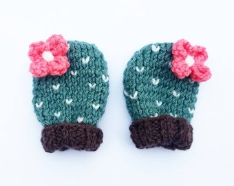 Hand Knit Baby Girl Thumbless Cactus Mittens size 0-6 months - teal with bright coral pink flowers