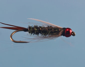 3-pack Red Head Prince Nymph, size 10 Prince Nymph, Tungsten Prince Nymph,  fly fishing flies, bead head nymph, Tungsten nymph, Trout flies