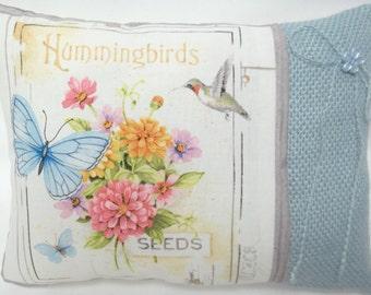 Hummingbird Butterfly Decorative Pillow With Flowers Summer Garden Shelf Pillow