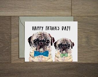 Fête des pères jour carte - Carlin papa - carte de voeux pug - Carlin - Carlin pour la vie