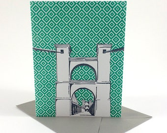 Waco, Texas Letterpress Card | Suspension Bridge | gray & green single blank card with envelope