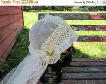 On Sale Antique French Lace Vintage Wedding Veil 1920s wedding Headpiece flapper bridal gown headband 455