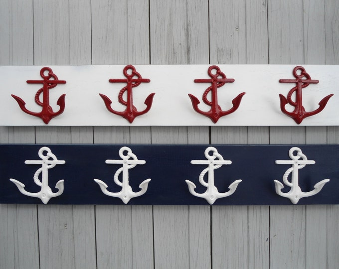 anchor coat rack entryway mud room family message center organizer playroom nautical nursery mancave sports gear storage BeachHouseDreamsOBX