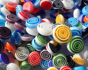 Round Flat Millefiori Glass Beads - Assorted Colors with White Circles - 12mm Use in Mosaics - Supplies to Create Glass Jewelry Beads