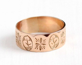 Sale - Victorian Cigar Band - Antique 9k Rose Gold Ring Size 8 Dated 1898 - Wide Fine Wedding Eternity Leaf Flower Floral English Jewelry