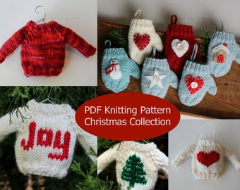 Christmas Knitting PATTERN / TWO Knit Pattern Bundle / PDF instant download / Knit Decoration / Holiday Ornament Pattern Collection