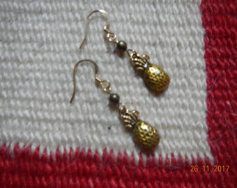 Gold-tone Pineapple Charm Dangle Earrings