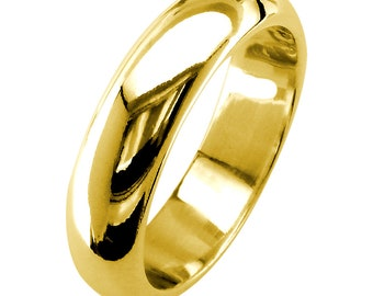 Mens Classic Plain Domed Wedding Band, 5mm Wide in 14K Yellow Gold
