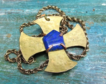 Maltese Cross with LAPIS on Long Gold Chain -  Handmade Hammered Brass Pendant Necklace with Natural Lapis Lazuli