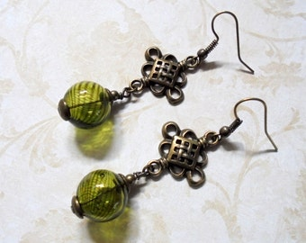 Olive Green and Brass Boho Earrings (3362)