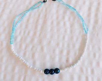 Blue//White Glass Beaded Choker (15in) -- RiotNecklaces X St. Thomas