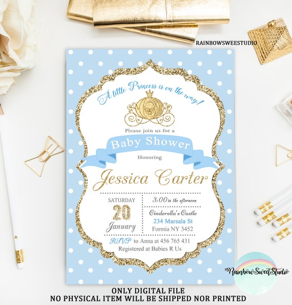 Cinderella Baby Shower Invitation Princess Baby Shower