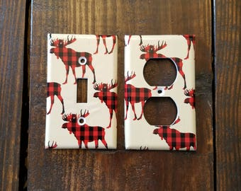 Moose Light Switch And Outlet Covers | Woodland Nursery - Set of 4 - Lumber Jack - Red Plaid - Canadian Baby - Home Decor - Kids Room - Art