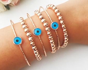 Rose gold beaded bracelet, evil eye bracelet, boho bracelet, layered bracelet, evil eye bangle bracelet, dainty bracelet, beaded bracelet