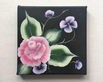 "Original Acrylic Flower Painting 6x6"""