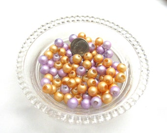 85 - 8mm Spray Painted Transparent Glass Beads Purple/Peach (B95c)