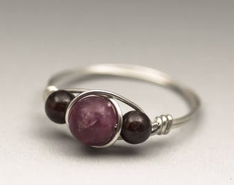 Lepidolite & Garnet Gemstone Sterling Silver Wire Wrapped Ring - Made to Order, Ships Fast!