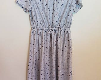 Vintage 1980's pale blue gray with navy and brown print secretary dress