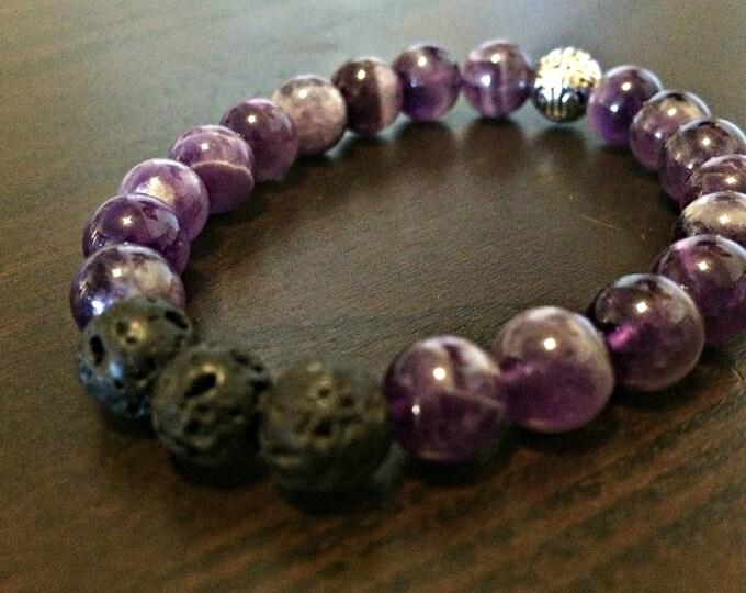 Handcrafted jewelry, Chakra bracelet, diffuser bracelet, Amethyst bracelet