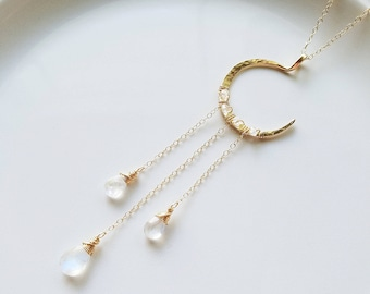 Moonstone Necklace, Crescent Moon 14K Gold Necklace, Rainbow Moonstone Gold Necklace, Rainbow Moonstone Pendant, Gold Moon Necklace