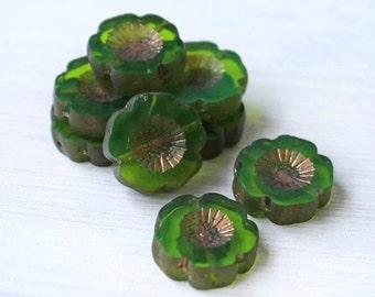 6 Czech Glass Beads 14mm Hawaiian Pansy Flower Green and Gold Tones - CB033