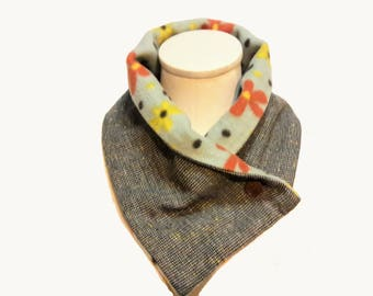Soft Neck Warmer in Wool Tweed and Comfy Fleece -- Eco Friendly Upcycled Scarf Alternative -- Earth Tone Neck Wrap --