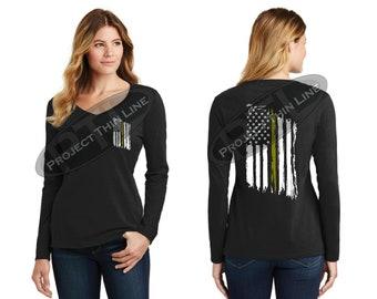Tattered American Flag Thin Gold Line Women's Long Sleeve Shirt - Dispatchers