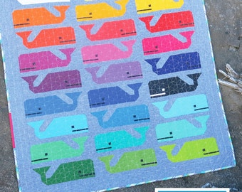 Preppy The Whale Quilt Pattern Whales Modern Quilt Pattern by Elizabeth Hartman