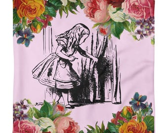 Alice in Wonderland Curiouser and Curiouser Square Pillow Case