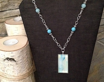 Watercolor Necklace/Seaside Collection w/Turquoise  and Agate Beads