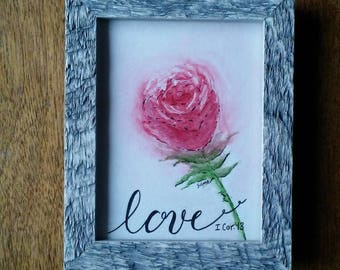 Love Rose Watercolor original. Valentine Decor. Valentine Gift. Brushed lettering sign.Framed with easel back. Free Shipping