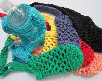 Water Bottle Holder You Pick the Color One Holder Cotton Material, Crochet Beverage Bottle Holder for 16.9 to 20 Ounce Drinks, Bottle Cozie