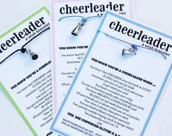 12 CHEERLEADER Wish Bracelets - You Know You're A Cheerleader When...Pick Your Color ... Team Spirit