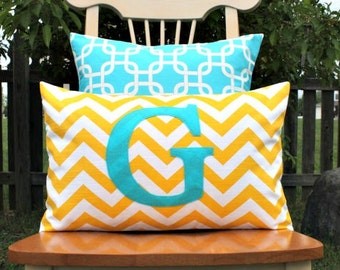 Monogrammed Lumbar Pillow Cover - Corn Yellow and White Chevron with Turquoise Monogram