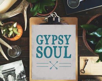 Boho Art Print: Gypsy Soul - 8 x 10 in.