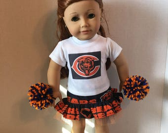 American Made 18 inch doll Clothes - Chicago Bears Cheerleader Outfit