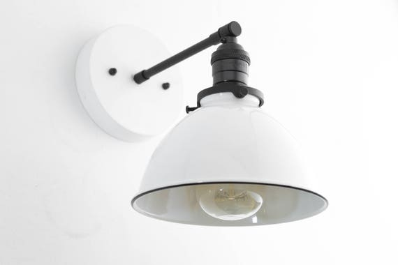 Industrial Wall Sconce Bathroom Lighting White Metal