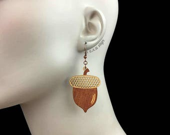READY MADE SALE - Wood Acorn Earrings - Wooden Laser Cut Earrings (C.A.B. Fayre Original Design)