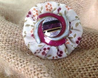 Burgundy liberty flower button ring