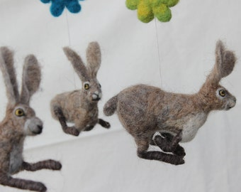 Felted baby mobile, hares dance