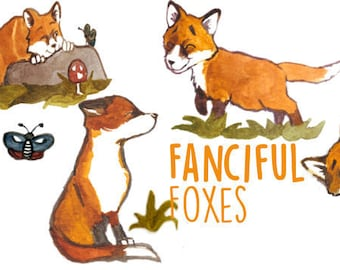 Hand Painted Water Color Clip Art - Fanciful Foxes - Animal Watercolor Clipart - Scrapbooking