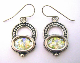 Beautiful  Roman Glass 925 Sterling Silver   Earrings